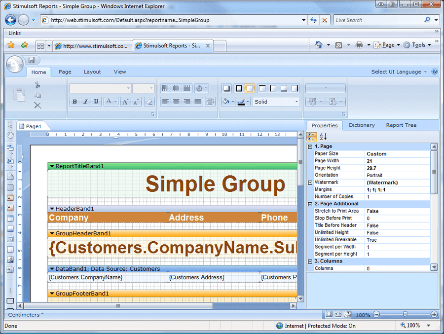 Screenshot von Stimulsoft Reports Designer.Web