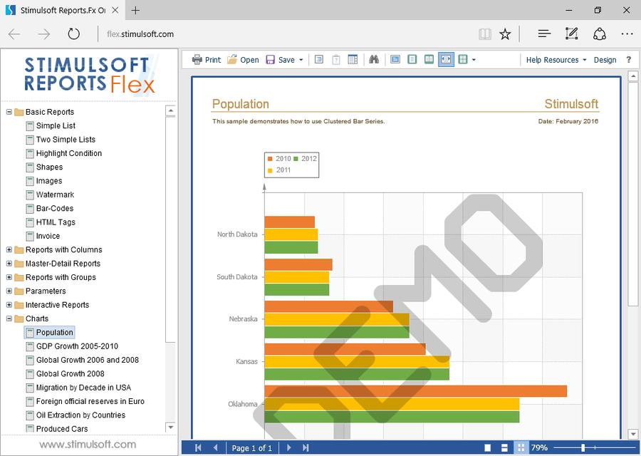 Screenshot of Stimulsoft Reports for Flex