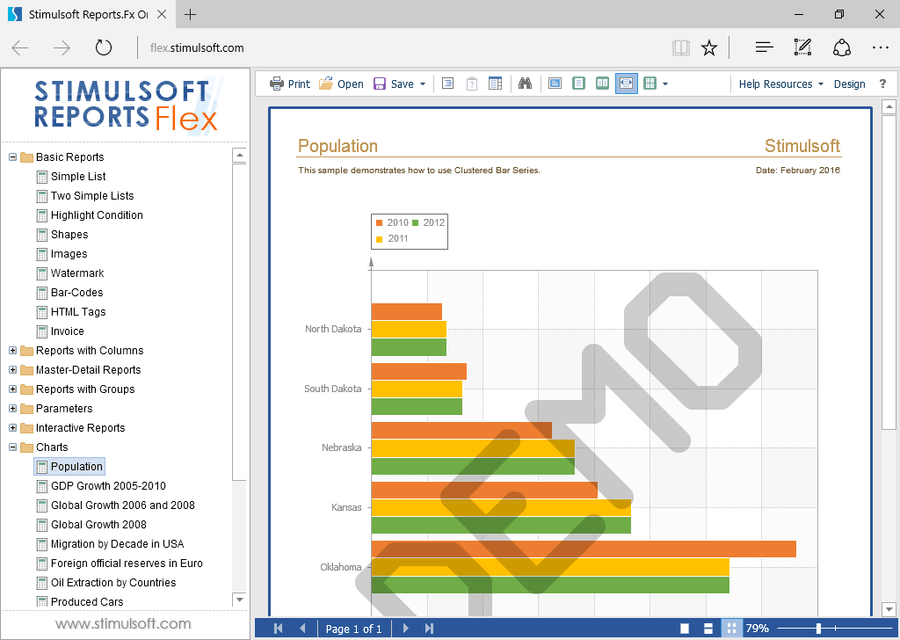 Screenshot of Stimulsoft Reports for Flex