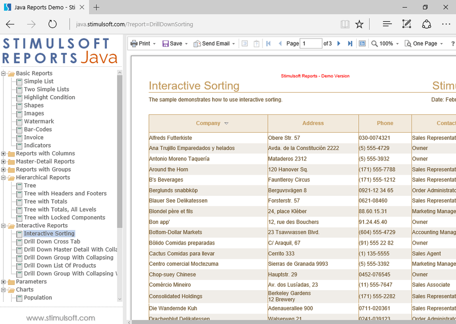 Screenshot von Stimulsoft Reports for Java
