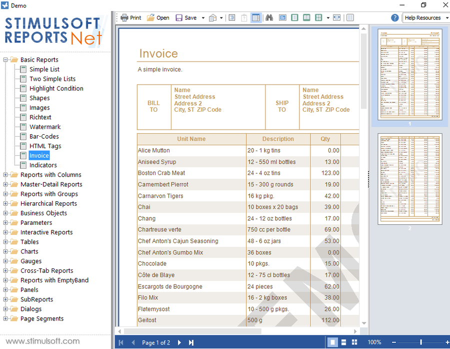 Screenshot von Stimulsoft Reports.Net