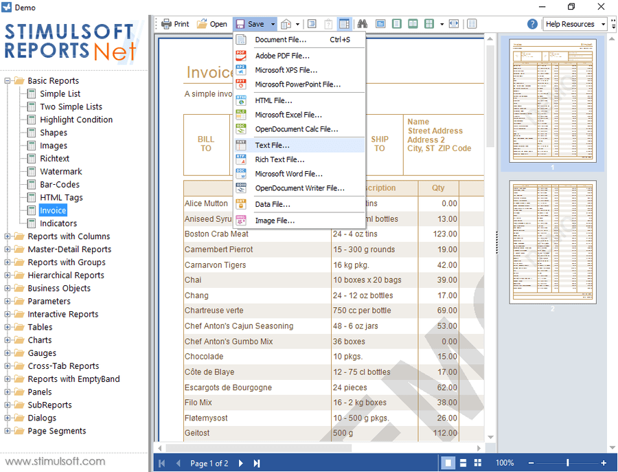 Screenshot of Stimulsoft Reports.Ultimate