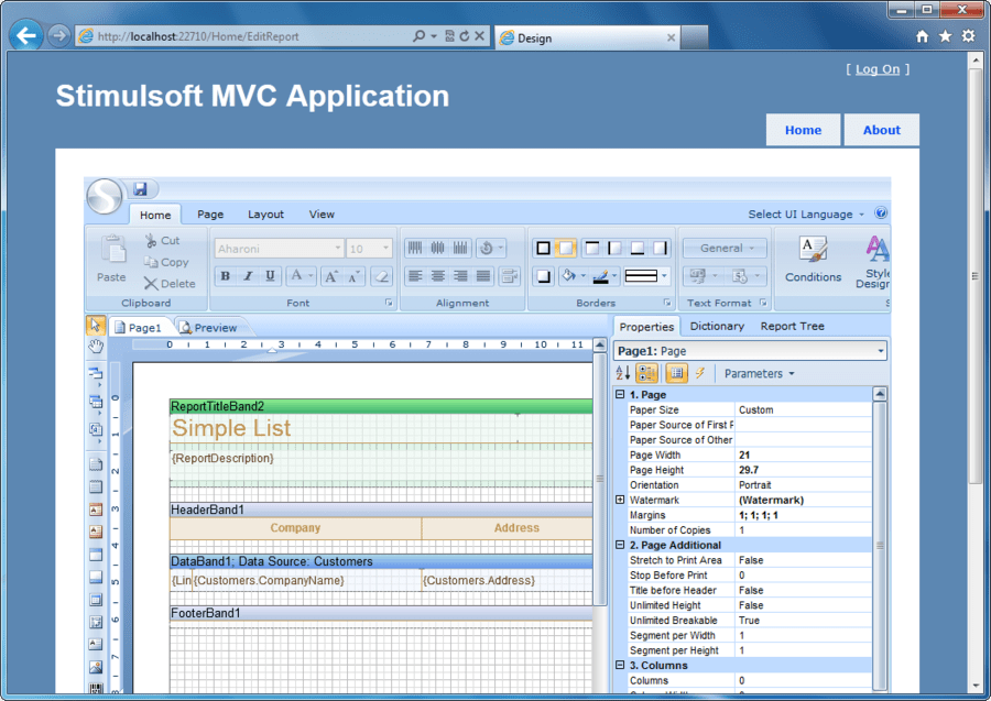 Screenshot of Stimulsoft Reports.Web for MVC