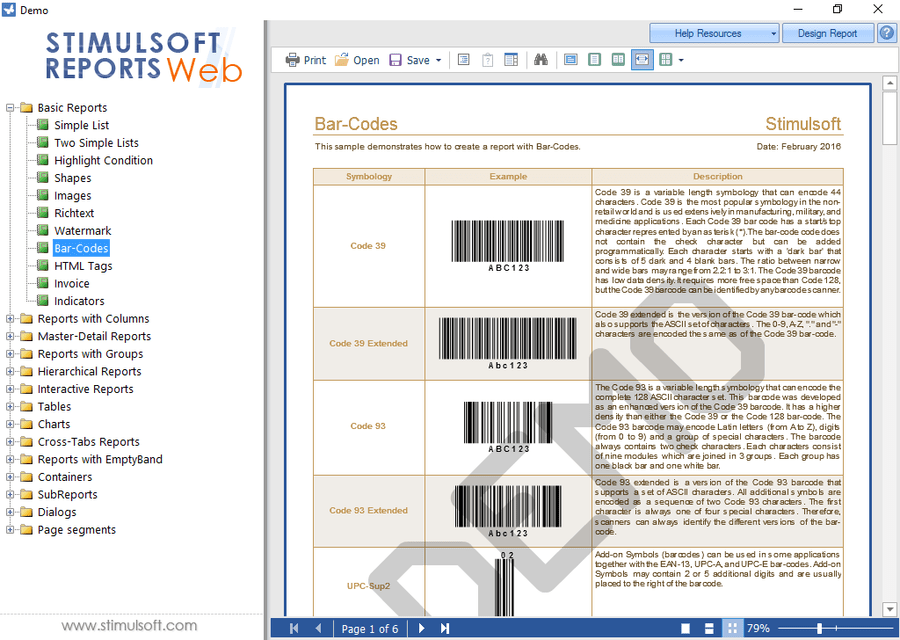 Screenshot of Stimulsoft Reports.Web
