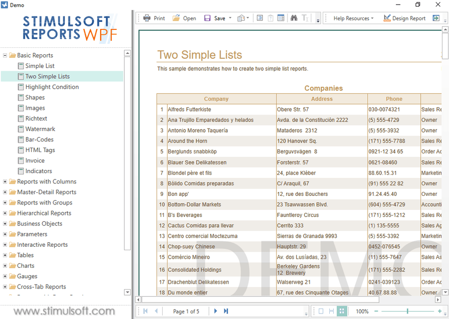 Screenshot of Stimulsoft Reports.Wpf