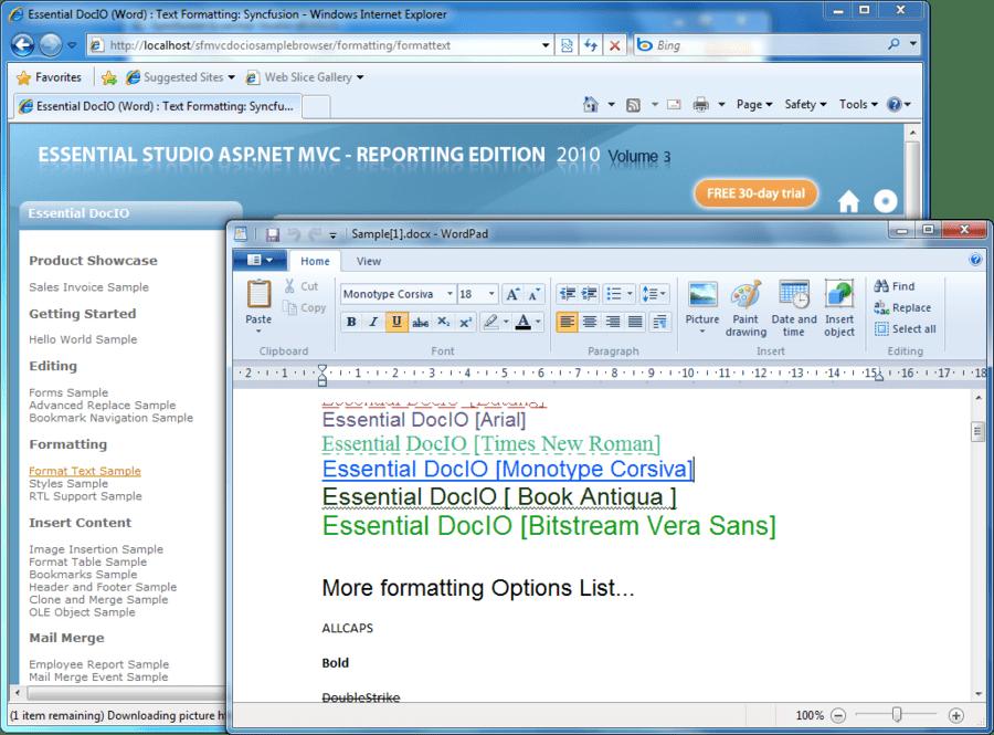 Screenshot of Syncfusion Essential DocIO for ASP.NET MVC