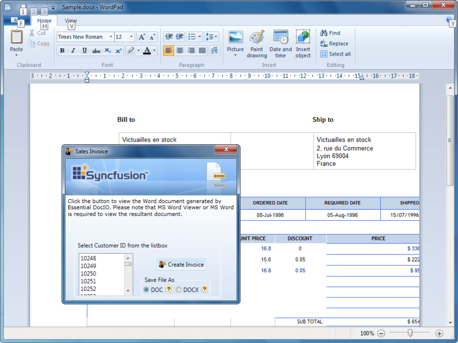 Screenshot of Syncfusion Essential DocIO for WPF
