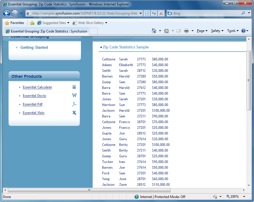 Screenshot of Syncfusion Essential Grouping