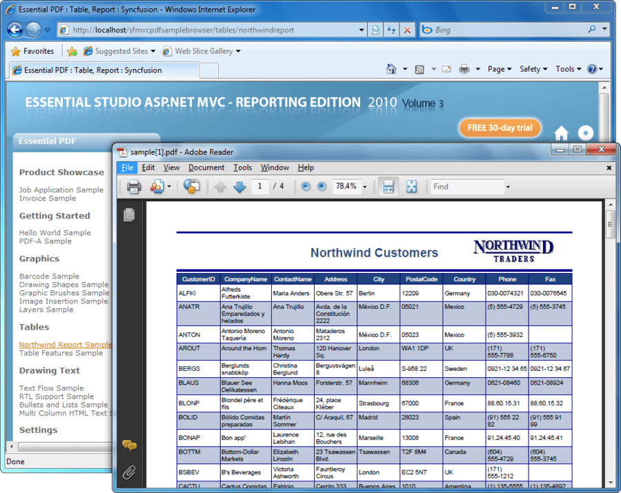 Screenshot of Syncfusion Essential PDF for ASP.NET MVC