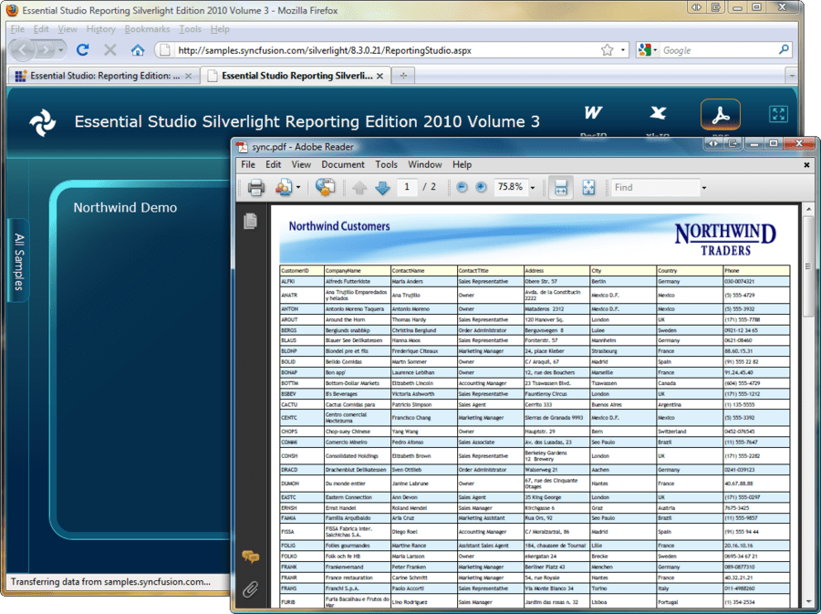 Screenshot of Syncfusion Essential PDF for Silverlight