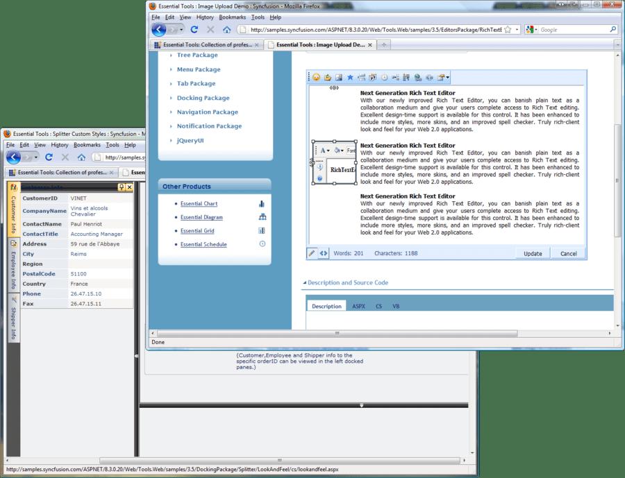 Capture d'écran de Syncfusion Essential Tools for ASP.NET