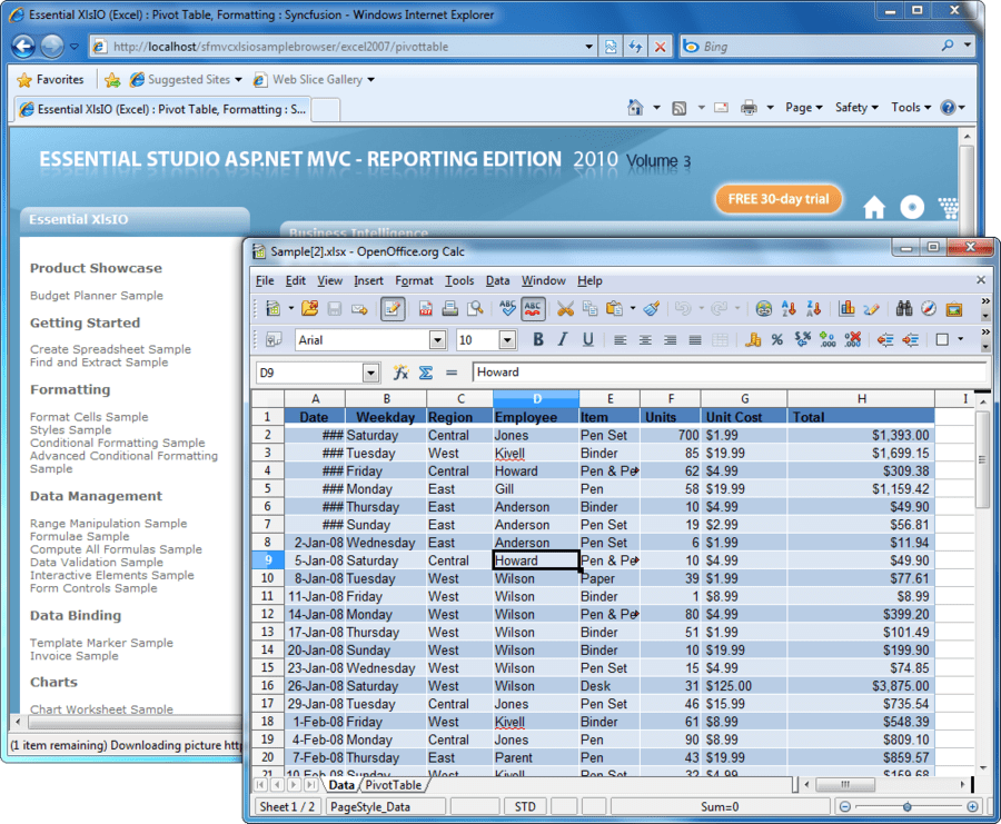 Screenshot of Syncfusion Essential XlsIO for ASP.NET MVC