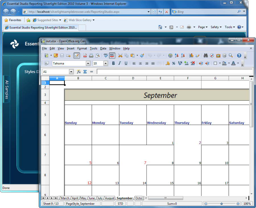 Captura de pantalla de Syncfusion Essential XlsIO for Silverlight