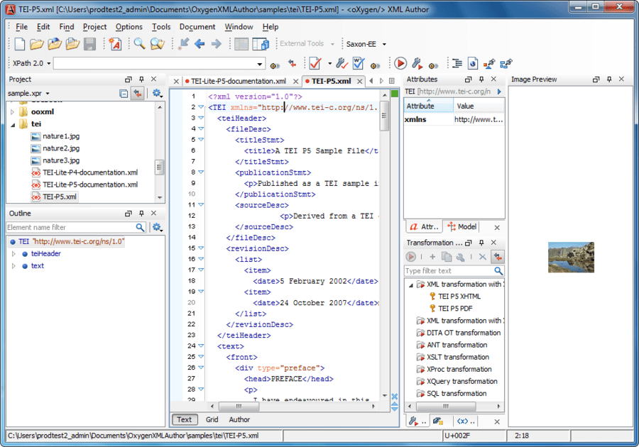 Screenshot of oXygen XML Author Enterprise