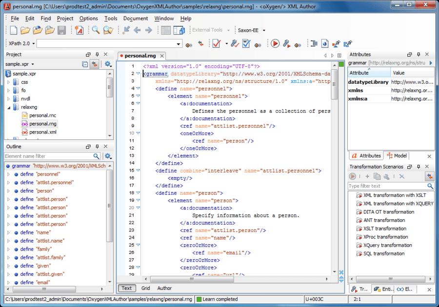 Captura de tela do oXygen XML Author Professional