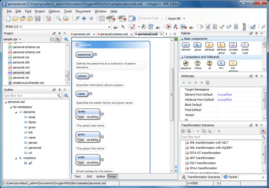 Schermata di oXygen XML Editor Academic