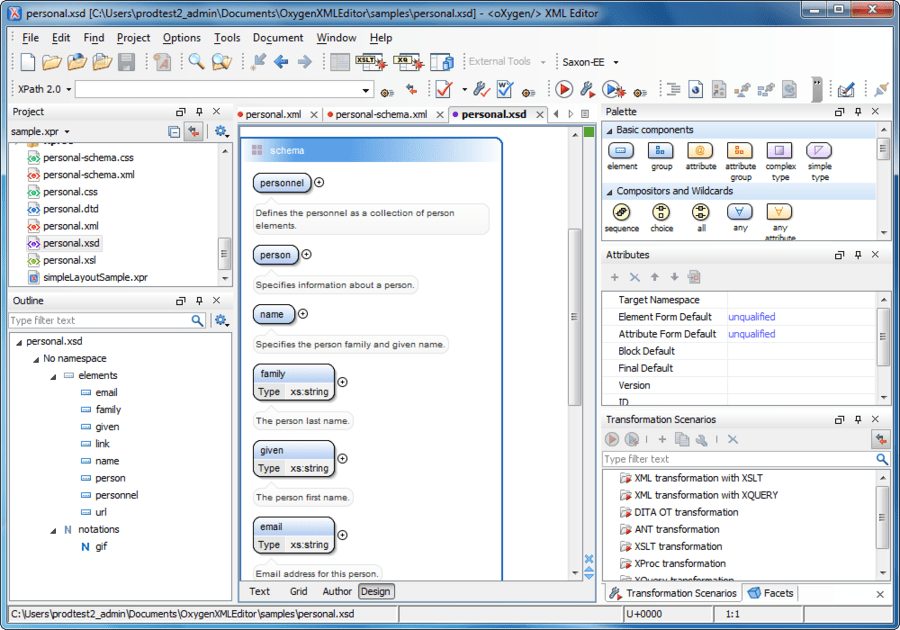 Screenshot of oXygen XML Editor Academic