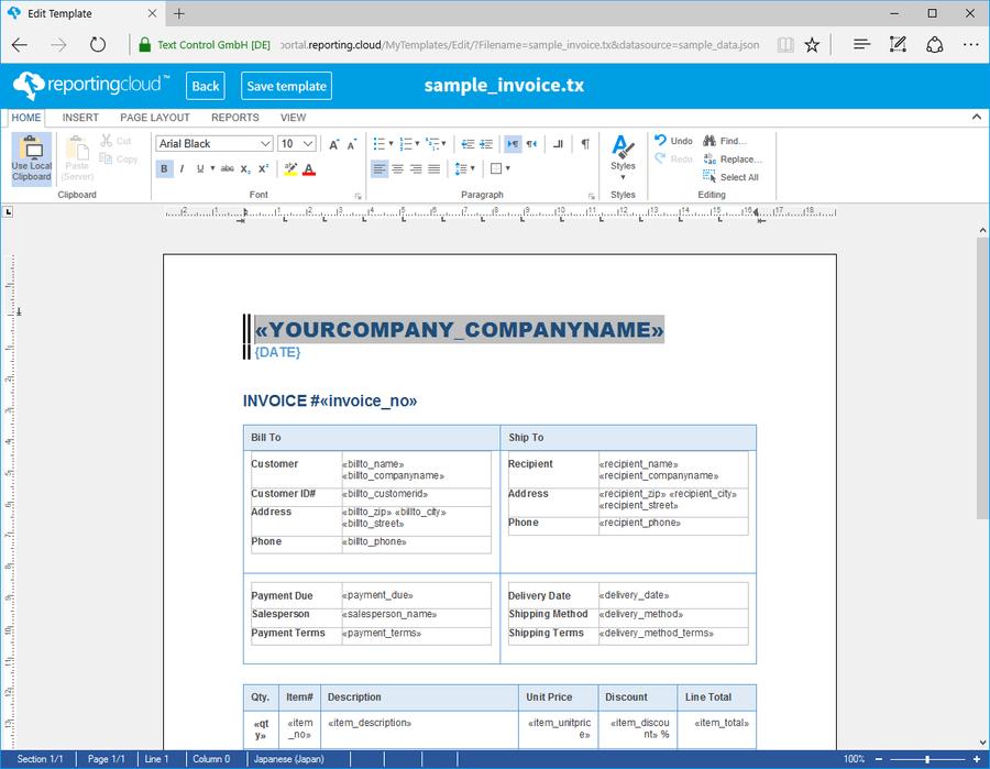 Screenshot of Text Control ReportingCloud