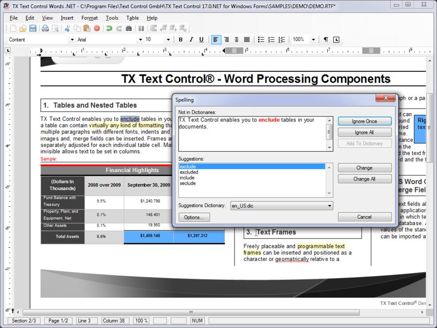 Screenshot von TX Spell .NET for WinForms and ASP.NET