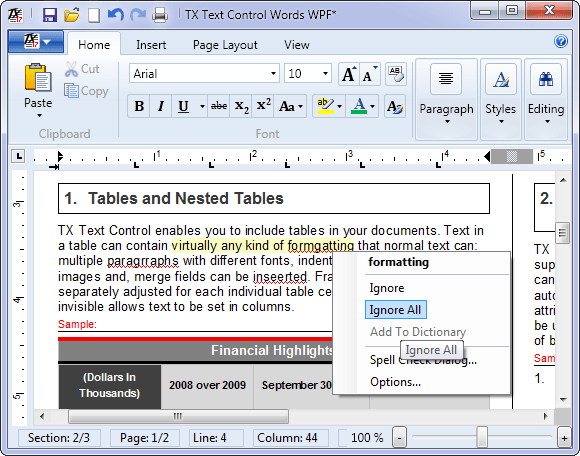 Screenshot of TX Spell .NET for WPF