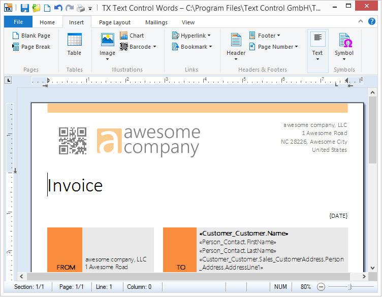 Screenshot of TX Text Control .NET for Windows Forms Professional