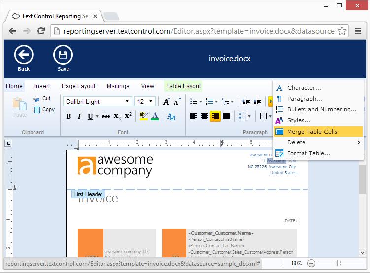 Screenshot of TX Text Control .NET Server for ASP.NET