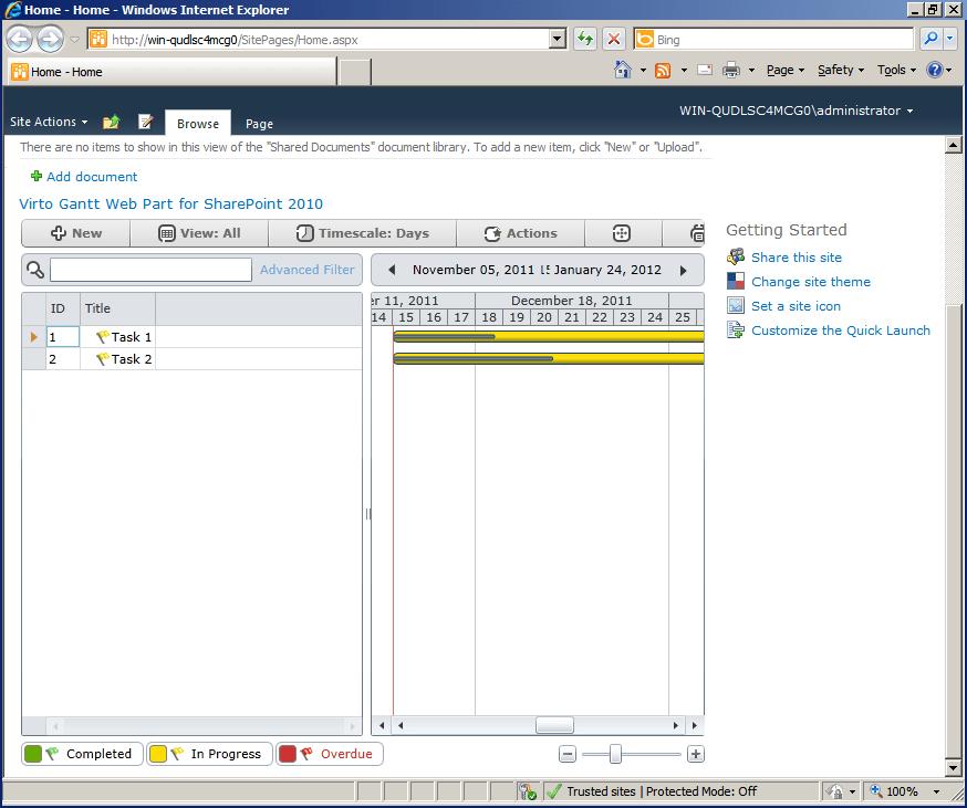 Screenshot of Virto Gantt View Web Part