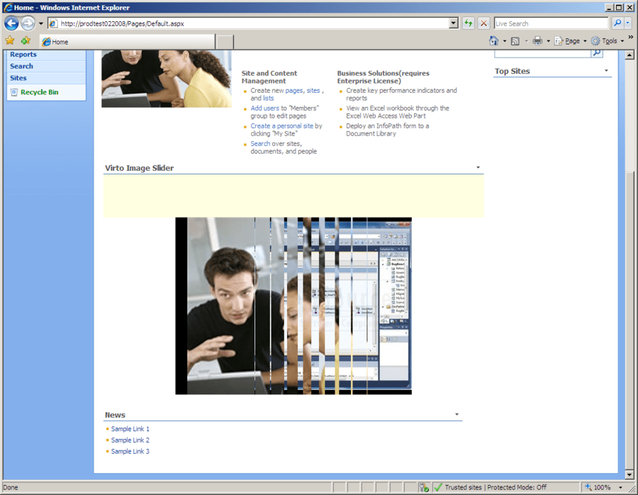 Screenshot of Virto Image Slideshow Web Part