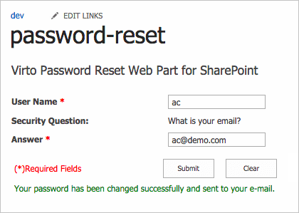 Screenshot of Virto Password Reset and Recovery Web Part
