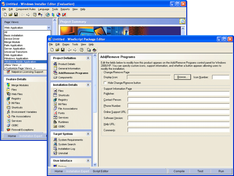 Screenshot of Wise Installation Studio
