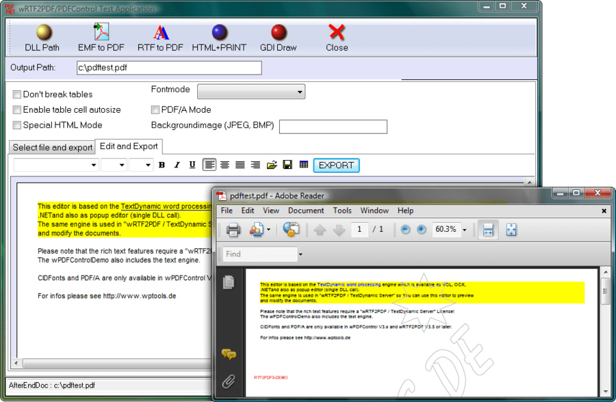 Screenshot von wRTF2PDF/TextDynamic Server