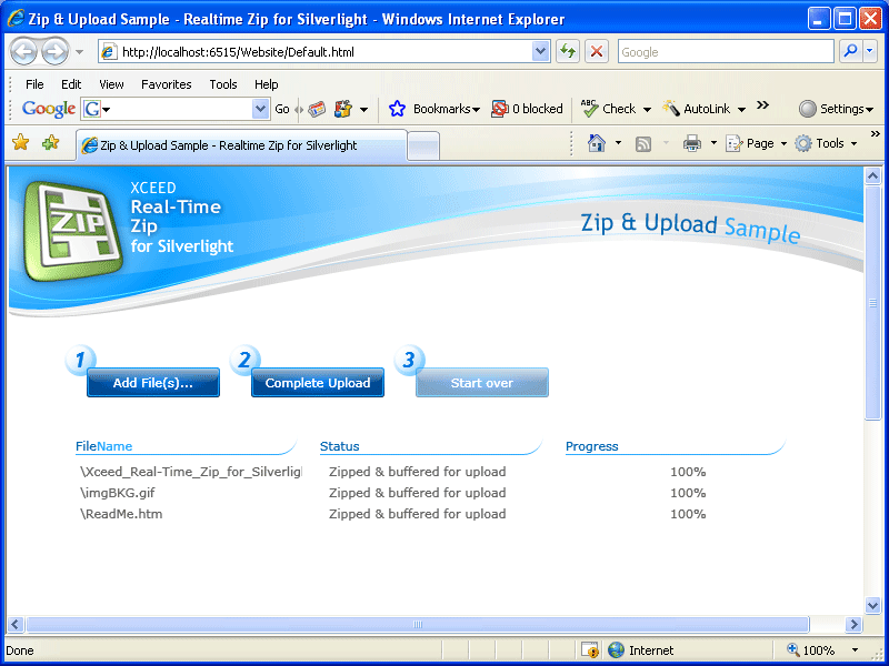 Screenshot of Xceed Real-Time Zip for Silverlight