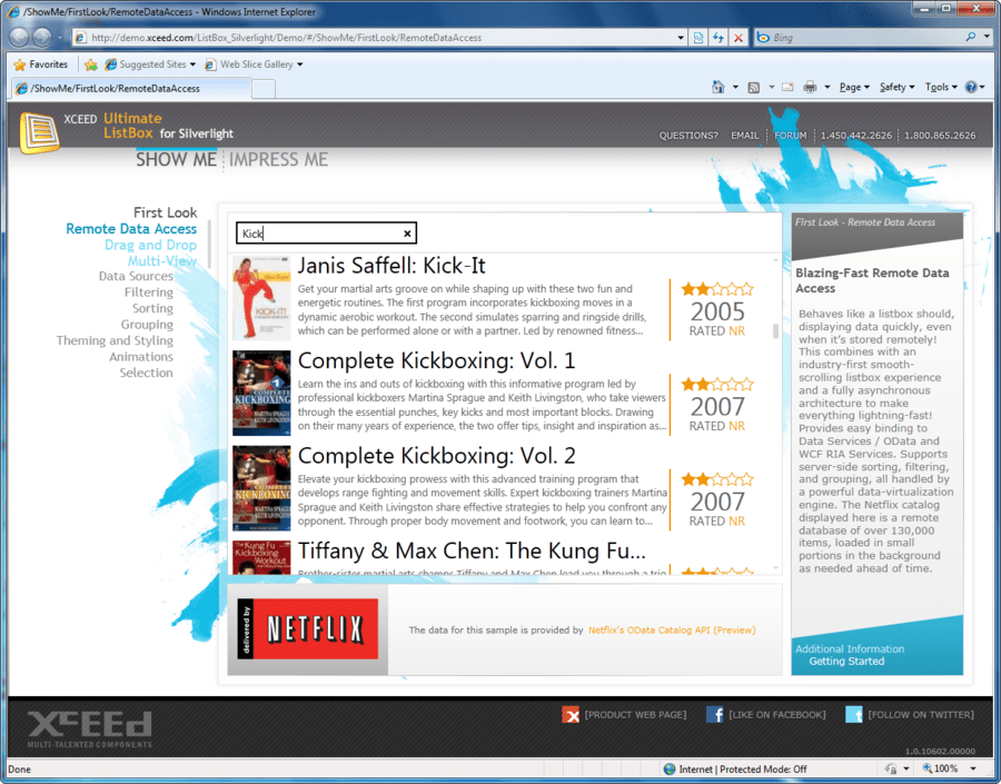 Screenshot of Xceed Ultimate ListBox for Silverlight