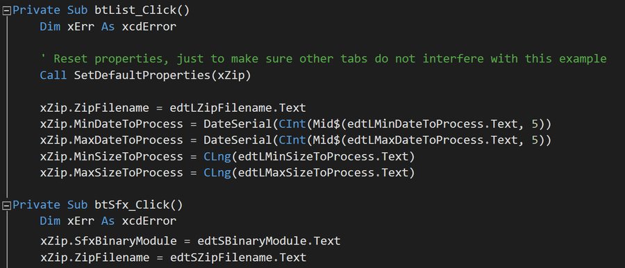 Screenshot of Xceed Zip for ActiveX