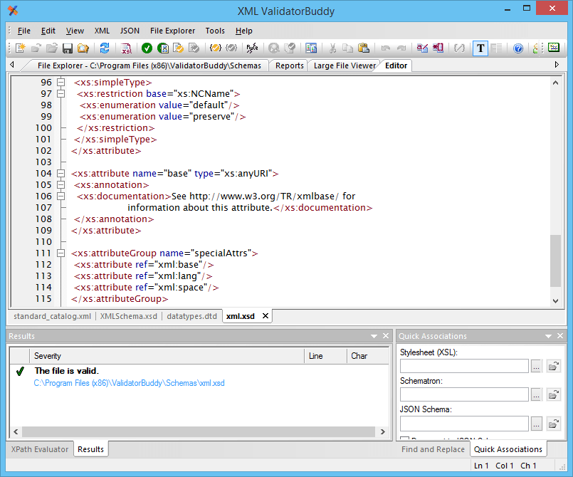 Screenshot of XML ValidatorBuddy