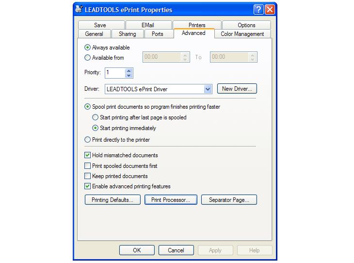 Advanced printing options