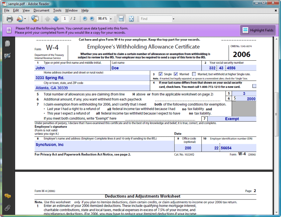 Syncfusion Essential Studio Reporting Edition – W4 Deductions and Adjustments Worksheet