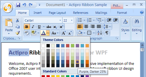 Ribbon for WPF adds Office 2010 themes