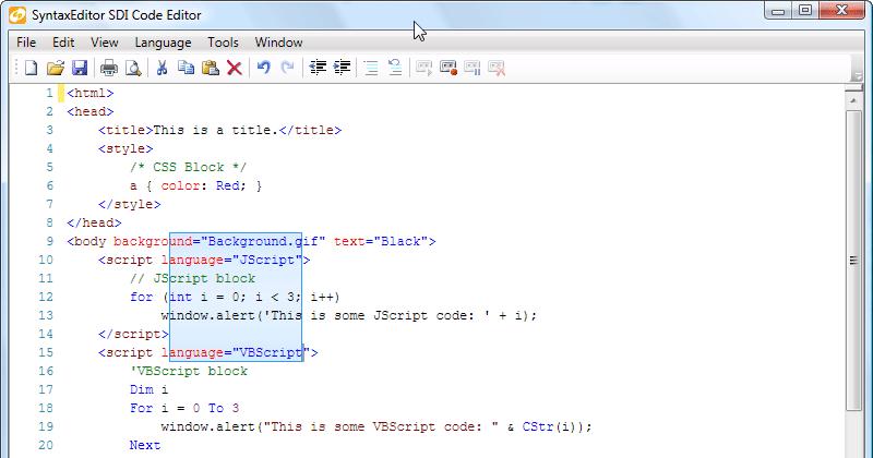 SyntaxEditor gains Web languages add-on