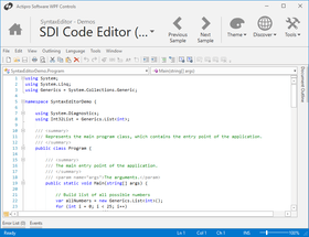 Actipro SyntaxEditor for WPF 2019.1(ビルド0683)