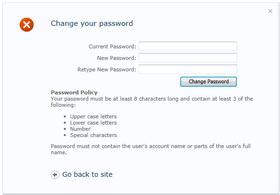 Password Change Web Part launched