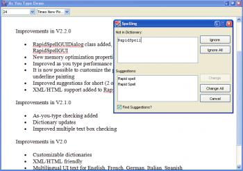 Anzeige für RapidSpell Java Desktop