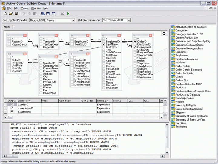 About Active Query Builder ActiveX Edition: Build complex SQL queries via an intuitive visual interface.