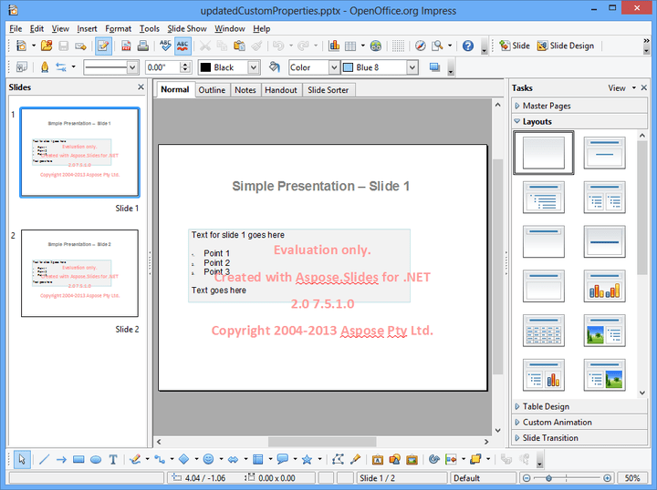 About Aspose.Slides for .NET: Enable your application to read and write PowerPoint documents without utilizing Microsoft PowerPoint.