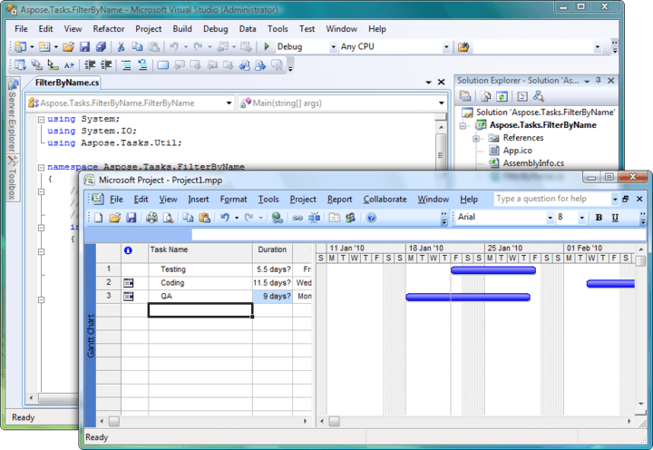 About Aspose.Tasks for .NET: Read and write Microsoft Project documents without utilizing Microsoft Project.
