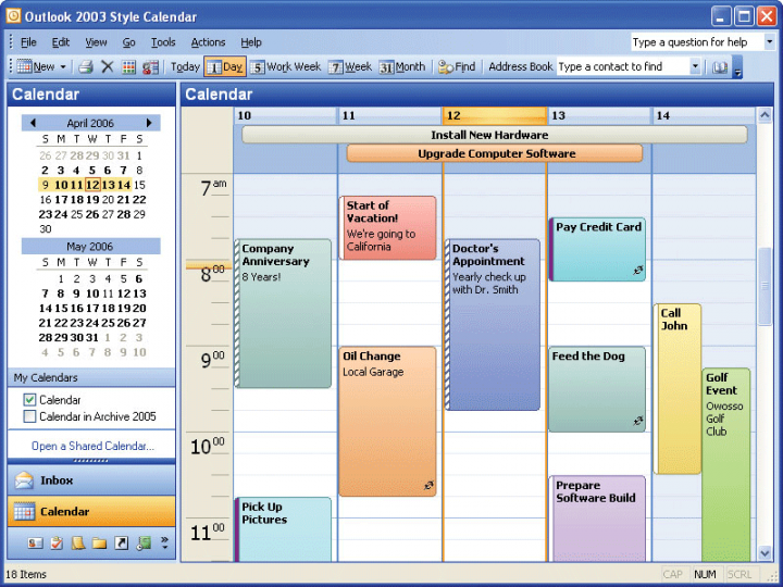 About Codejock Calendar ActiveX: Let your applications manage appointments and arrange them by day, week, work week or month.
