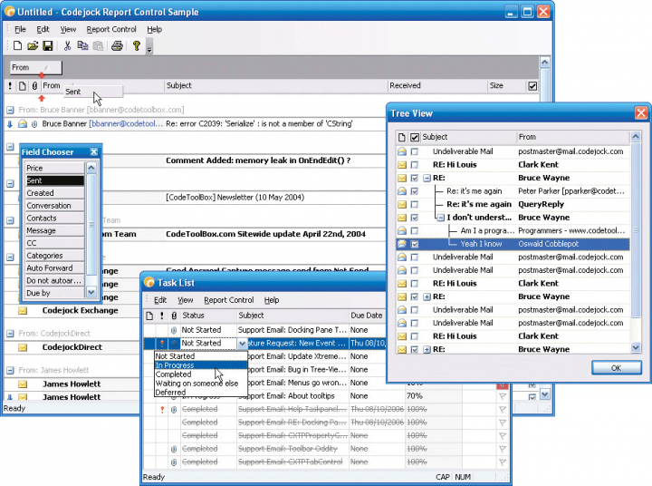 About Codejock Report Control ActiveX: Easily create, group and sort data in a flat or hierarchical format.