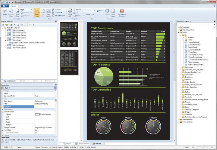 About List & Label Professional Reporting Edition: Report generator with report designer for software developers.