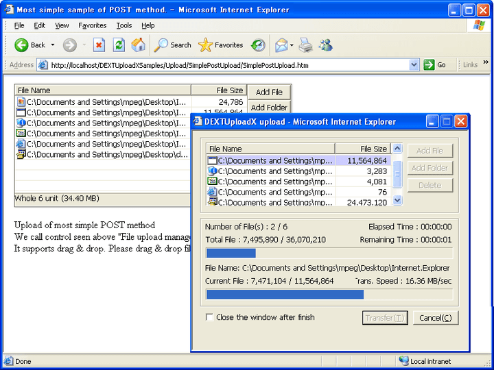About DEXTUploadX: Add the ability to upload and download files to an IIS Web server.