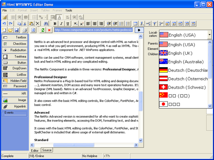 About NetRix Professional: Enable easy HTML editing in .NET Win Forms applications.